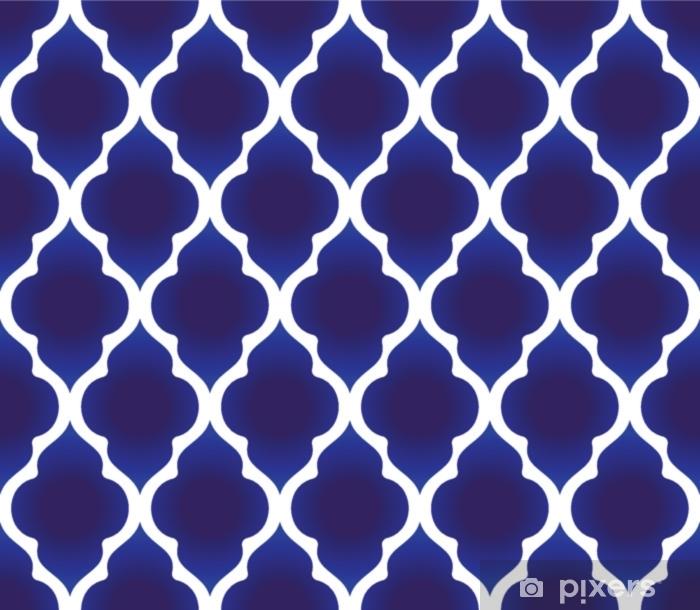Vinyl Fotobehang Blauw en wit islamitisch patroon - Grafische Bronnen