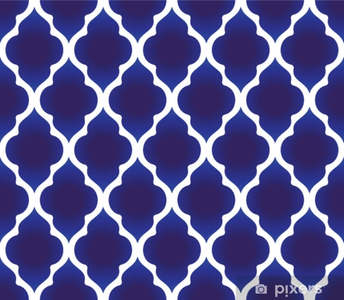 blue and white Islamic pattern Pixerstick Sticker - Graphic Resources