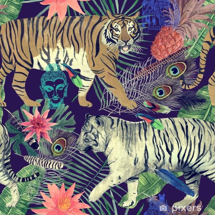 Vinyl Fotobehang Naadloos waterverfpatroon met tijgers, bladeren, veren ,. - Grafische Bronnen