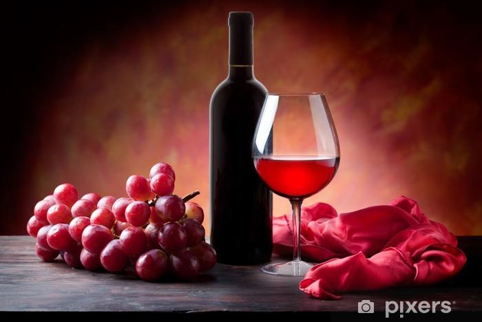 Naklejka Pixerstick Czerwonego wina i winogron, teksturą tle. - Tematy