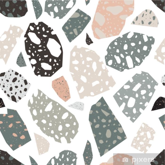 Çıkartması Pixerstick Modern terrazzo doku. renkli taş parçaları veya beyaz arka plan üzerinde dağınık parçaları ile seamless modeli. kumaş baskı, ambalaj kağıdı, duvar kağıdı, döşeme için yaratıcı vektör çizim. - Grafik kaynakları