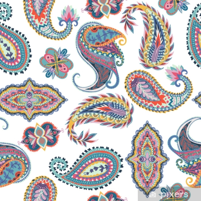 Seamless paisley pattern. Oriental design for fabric, prints, wrapping paper, card, invitation, wallpaper. Vector illustration Pixerstick Sticker - Graphic Resources