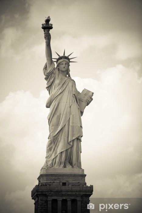 Papier peint vinyle Freiheitsstatue à New York, monochrome - Villes américaines