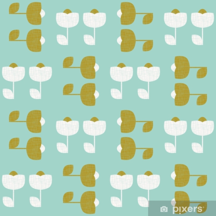 Pixerstick Sticker Modern vector abstract naadloos geometrisch patroon met gestileerde bloemen en bladeren in retro Skandinavische stijl. - Bloemen en Planten