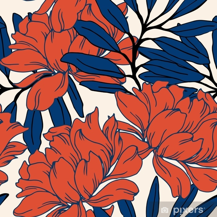 Abstrakt elegance mønster med blomster baggrund. Vinyl fototapet - Planter og Blomster