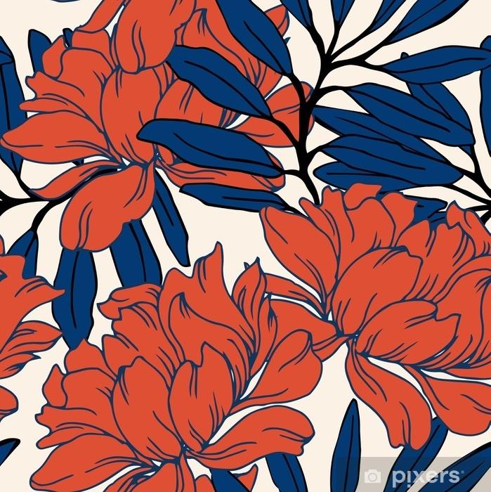 Mural de Parede em Vinil Padrão de elegância abstrata com fundo floral. - Plantas e Flores