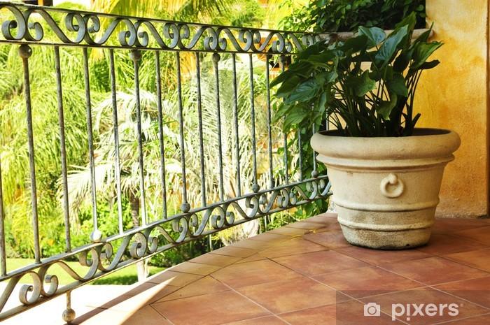 Carta da parati pianta su piastrelle veranda messicana u pixers