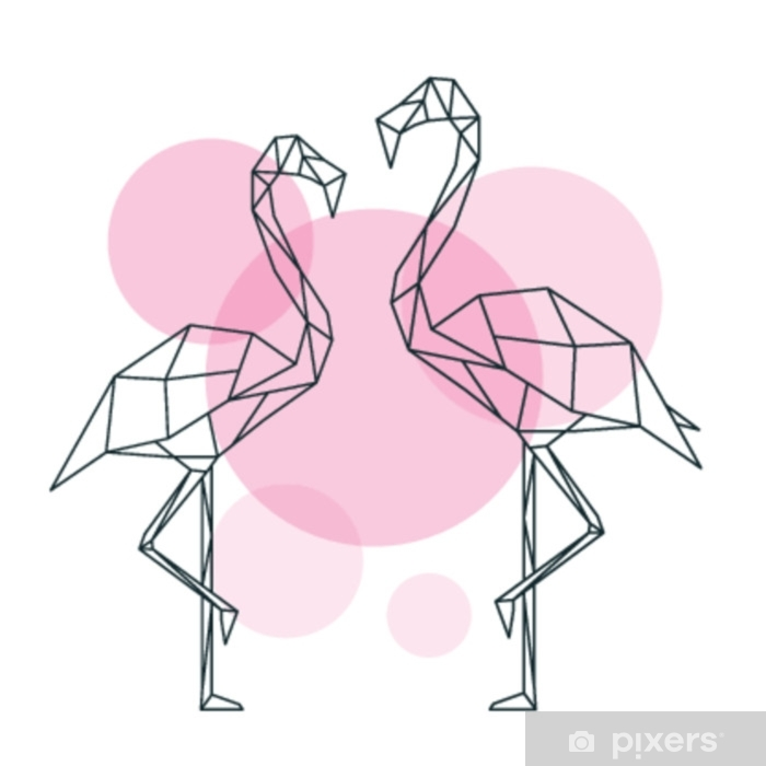 Papier Peint Belle Illustration De Flamant Rose Dans Le Style