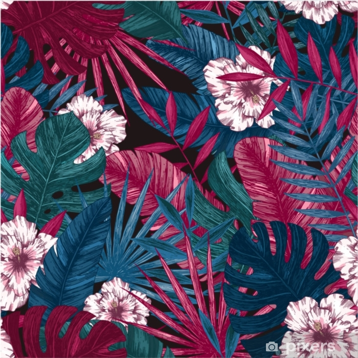 Exotic Leaves And Flowers Seamless Pattern Tropical Floral Background Vector Illustration Poster Pixers We Live To Change Exotic tropical hawaiian palm tree leaves. exotic leaves and flowers seamless pattern tropical floral background vector illustration poster