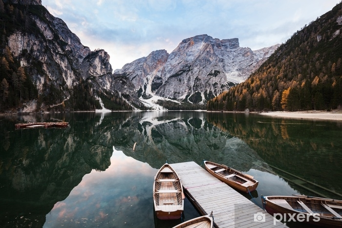 Boats on Lago di Braies mountain lake. Washable Wall Mural - Landscapes