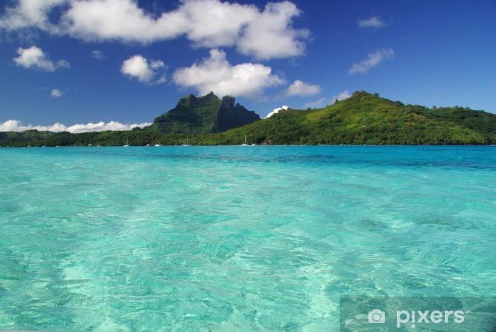 View Of Bora Bora Island And The Turquoise Lagoon In Tahiti Wall Mural Vinyl