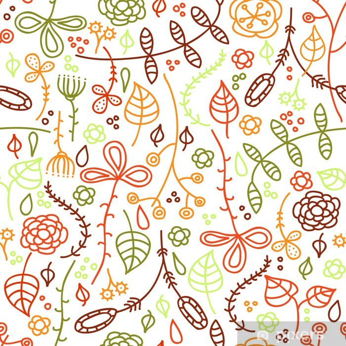 Sticker Pixerstick Autumn leaves. Main dessinée seamless pattern. - Thèmes