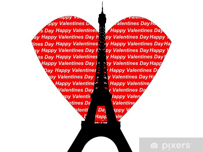 eiffel tower valentines day Pixerstick Sticker - European Cities