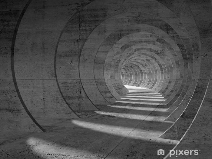 Vinyl Fotobehang Abstract betonnen tunnelinterieur, perspectief - Gebouwen en Architectuur
