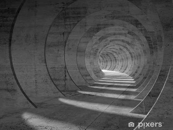 Sticker Pixerstick Tunnel abstrait béton intérieur, vue en perspective - Bâtiments et architecture