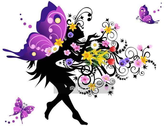 Adesivo da Parete Fata primavera con le ali colorate - Moda