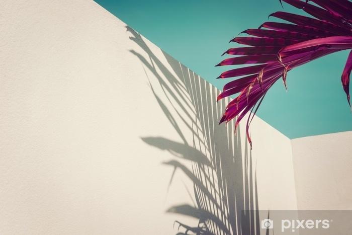 Violetti palmu lehtiä turkoosi taivasta ja valkoista seinää vastaan. eloisia värejä, luovia värikkäitä minimalismia. kopioi tilaa tekstille Pixerstick tarra - Elämäntavat