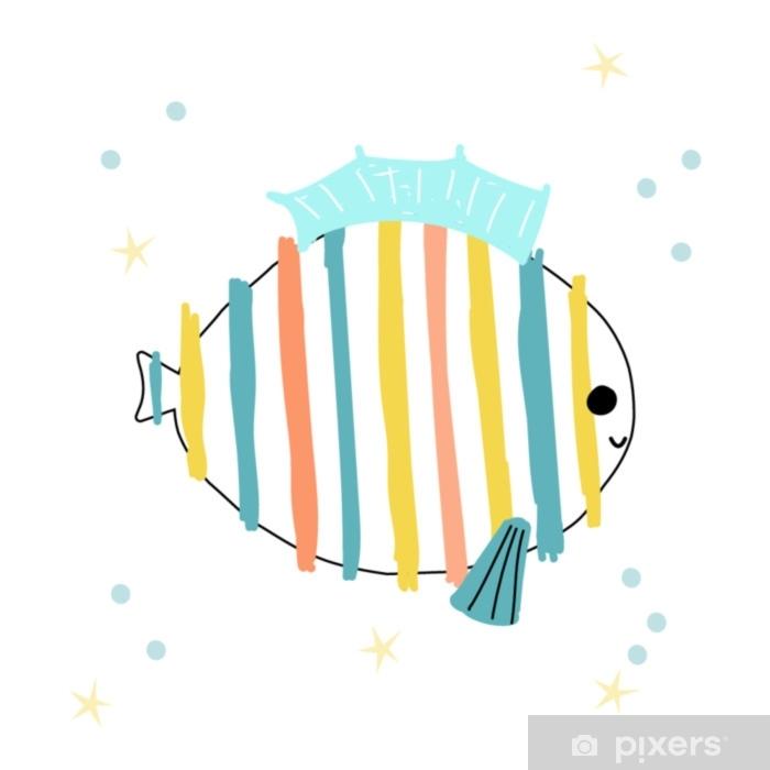 Mural De Parede Lindos Filhos Imprimir Com Peixes Coloridos
