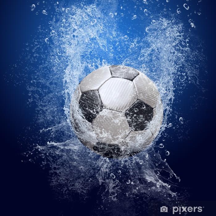 Adesivo Gocce Dacqua Intorno Pallone Da Calcio Su Sfondo Blu
