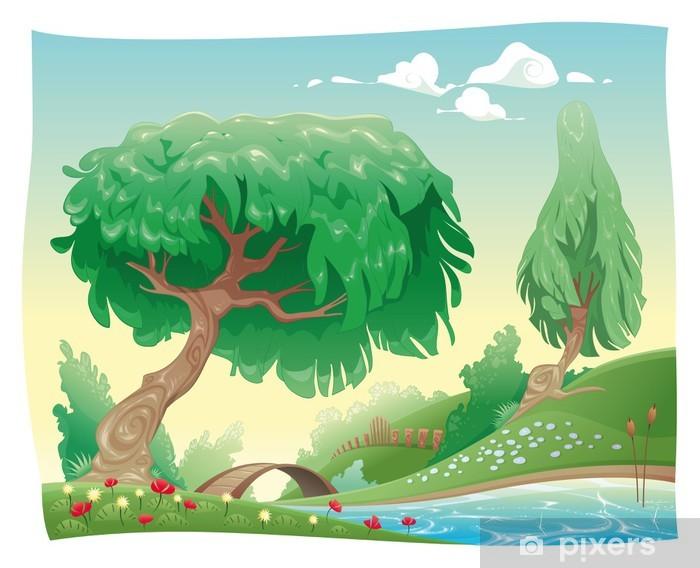 Sticker Campagne Vecteur De Dessin Anime Et Du Paysage Objets Isole Pixers Nous Vivons Pour Changer