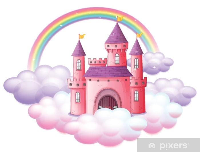 A Pink Fairy Tale Castle Vinyl Wall Mural - Graphic Resources