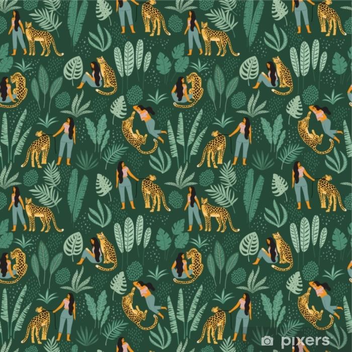 Vinil Duvar Resmi Vektör kadınlar, leoparlar ve tropikal yaprakları ile seamless modeli. - Grafik kaynakları