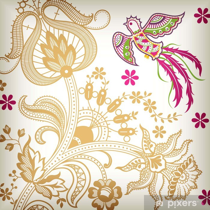 Naklejka Pixerstick Quetzal i Oriental Floral - Ptaki