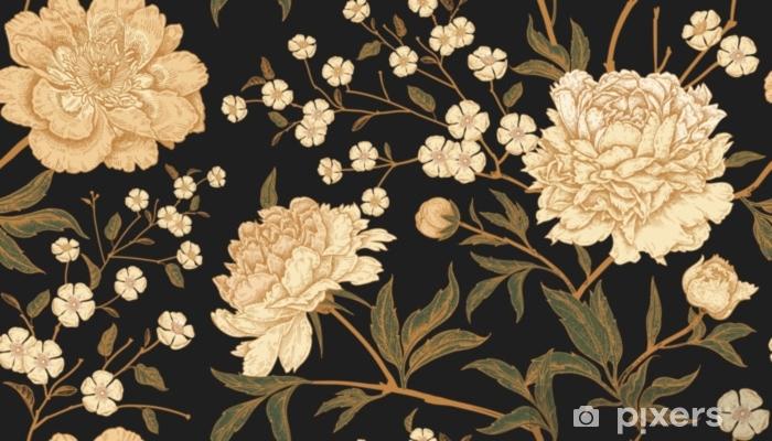 Sticker Pixerstick Modèle sans couture avec des faisans d'oiseaux exotiques et des fleurs de pivoine. - Plantes et fleurs