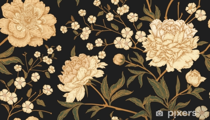 Seamless pattern with exotic bird pheasants and peony flowers. Pixerstick Sticker - Plants and Flowers