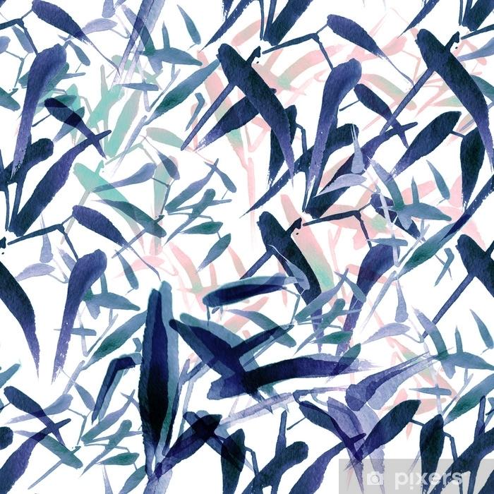 Vinilo Pixerstick Acuarela moderna de patrones sin fisuras de bambú. tonos de azul y rosa - Recursos gráficos