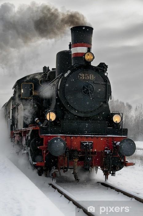 Papier peint vinyle Vieille locomotive à vapeur dans la neige - Thèmes