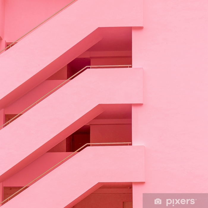 Balconies. Geometry. Fashion minimal pink mood Pixerstick Sticker - Plants and Flowers