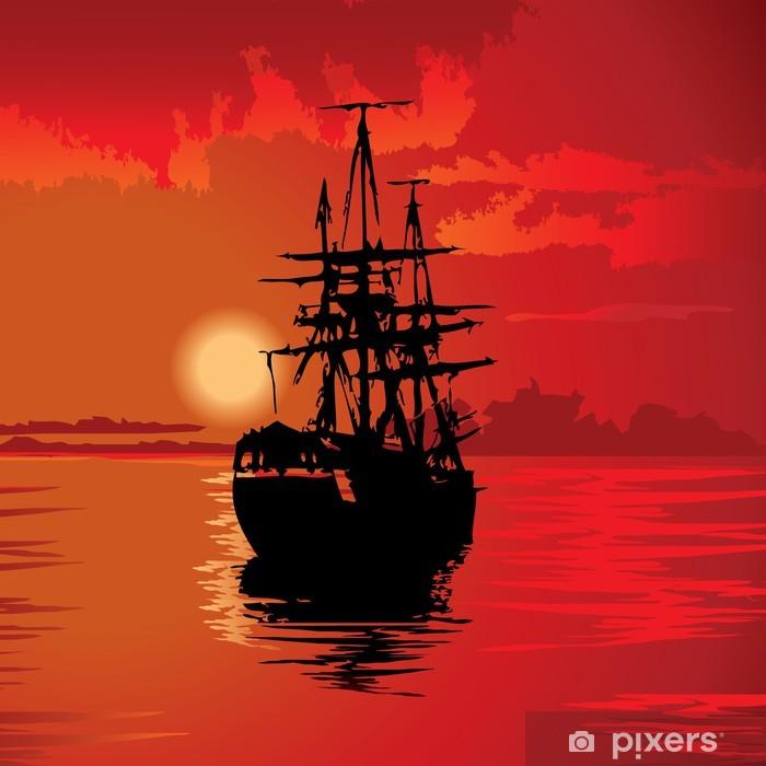 Poster Flying Dutchman sur un fond rouge. Vecteur art-illustration. - Eau