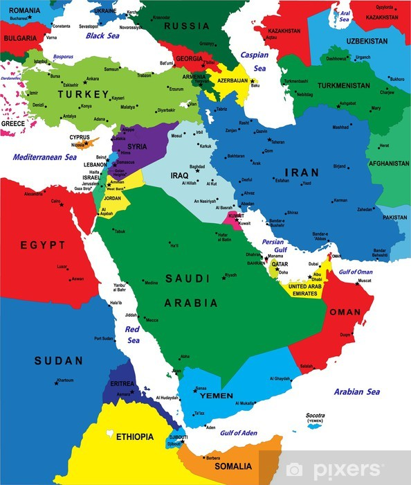 Middle east political map-Vector illustration Sticker • Pixers® • We ...