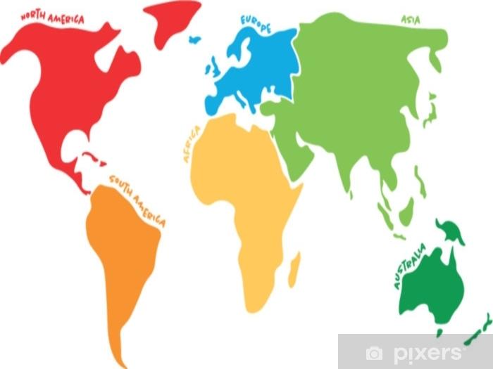 Carte Australie Sur Europe.Papier Peint Carte Du Monde Multicolore Divisee En Six Continents De Differentes Couleurs Amerique Du Nord Amerique Du Sud Afrique Europe Asie Et