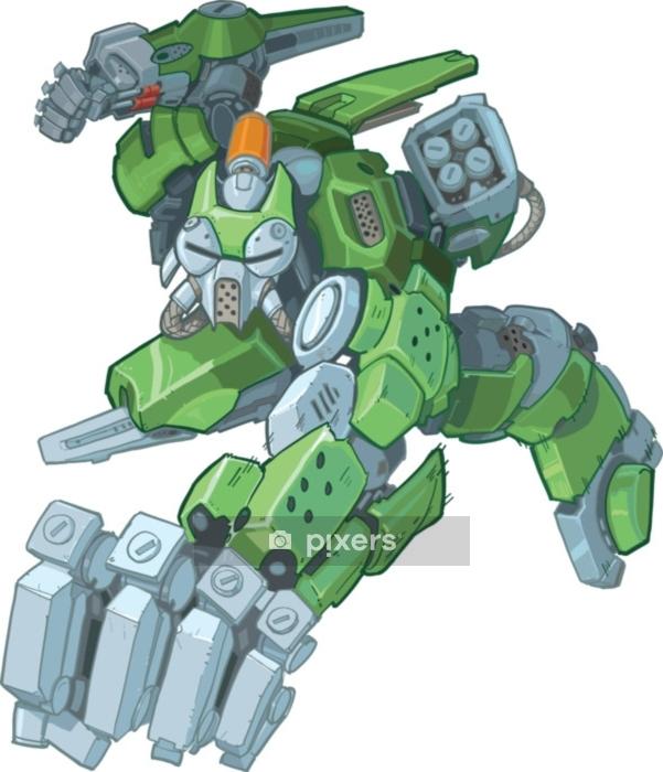 Vinilo para Pared Robot de dibujos animados humanoide verde soldado ilustración de perforación - Tecnología