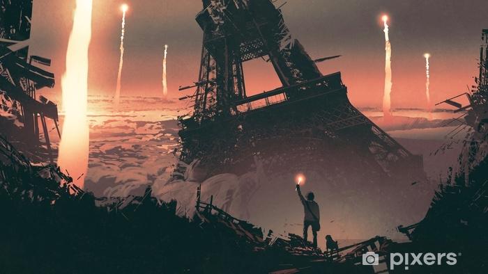 Fotomural Estándar Paisaje post-apocalíptico que muestra a un hombre y un perro parados en las ruinas de la ciudad, estilo de arte digital, pintura de ilustración - Paisajes