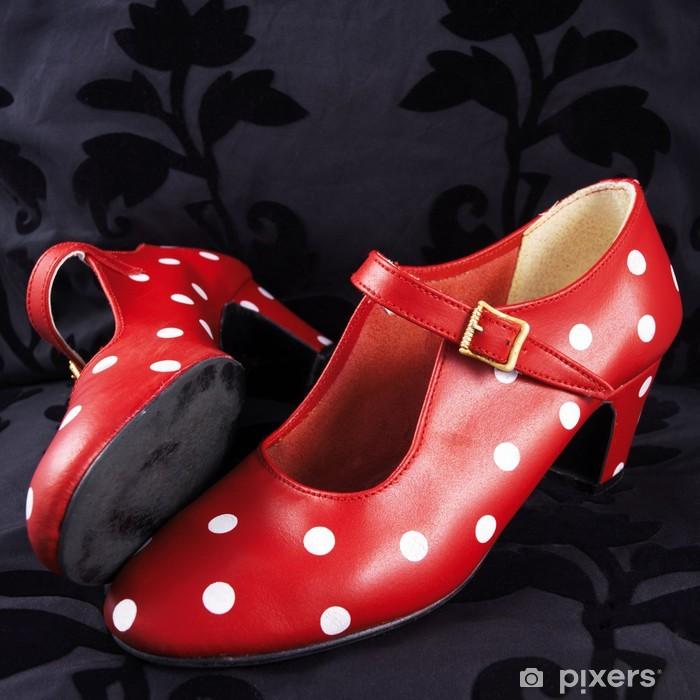 Peint Rouges Chaussures Pois Blancs Danse Flamenco Papier Deux À De dxWQCBoEre