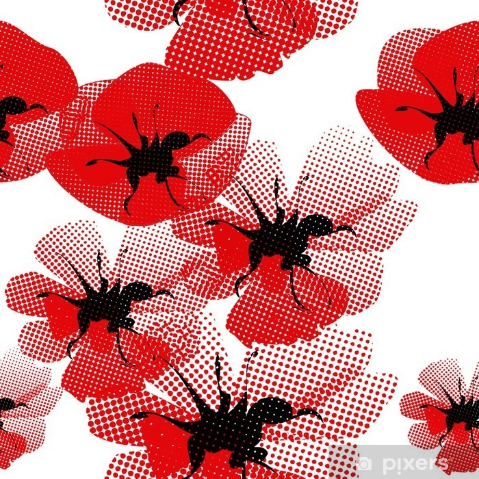 Sticker Pixerstick Floral seamless pattern with poppy - Thèmes