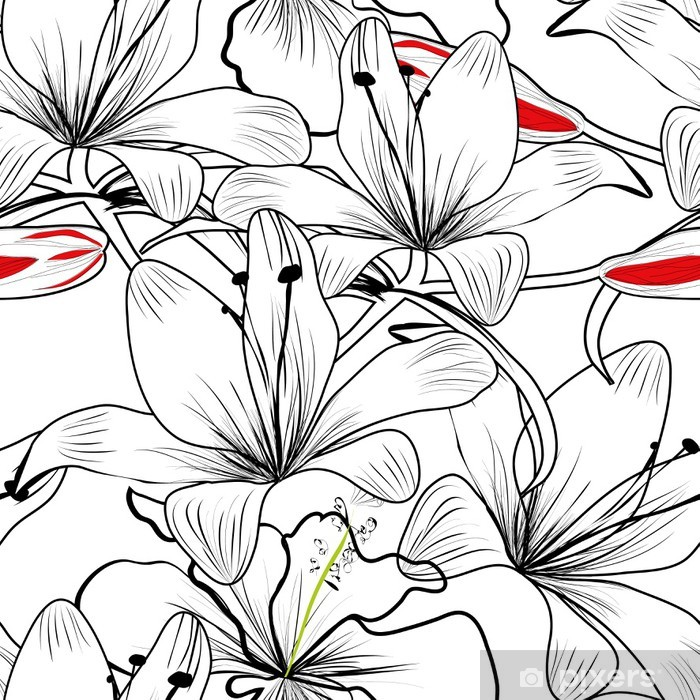 seamless pattern with white lily flowers Poster - Styles