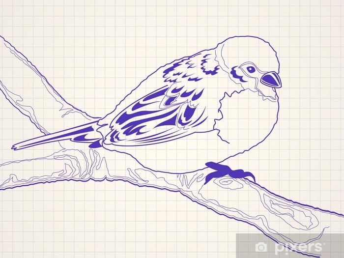 Papier Peint Tire Par La Main Moineau Oiseau Sur Une Branche