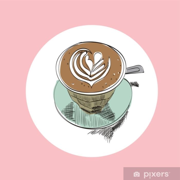 Fototapete Hand Gezeichnete Illustration Des Kaffeetasse Vektors Flache Weisse Latte Skizze Hand Gezeichnete Cafeaquarellzeichnung