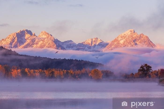 Fototapeta samoprzylepna Malownicze odbicie sunrise tetons jesienią - Krajobrazy