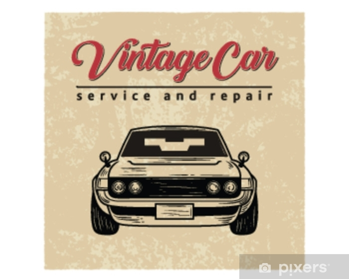 CLASSIC CAR SERVICE MECHANIC GARAGE SIGN ART PRINT POSTER Transport Wall Picture