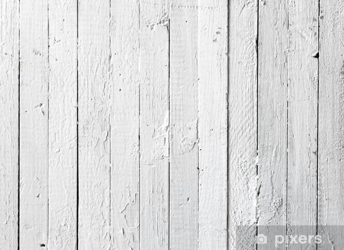 Beau Grunge White Painted Wooden Plank Vinyl Wall Mural   Themes