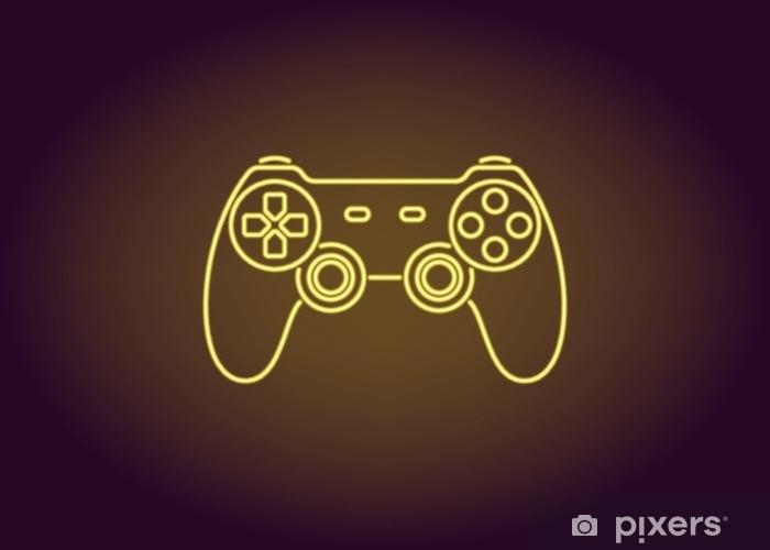 Sticker Pixerstick Icône de néon de joystick jaune - Technologie