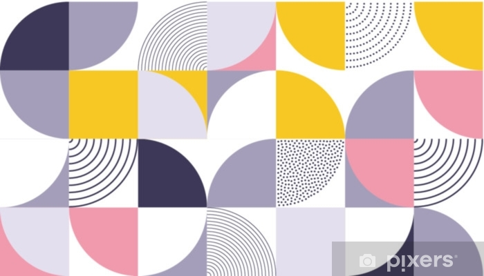 Geometric pattern vector background with Scandinavian abstract color or Swiss geometry prints of rectangles, squares and circles shape design Washable Wall Mural - Graphic Resources