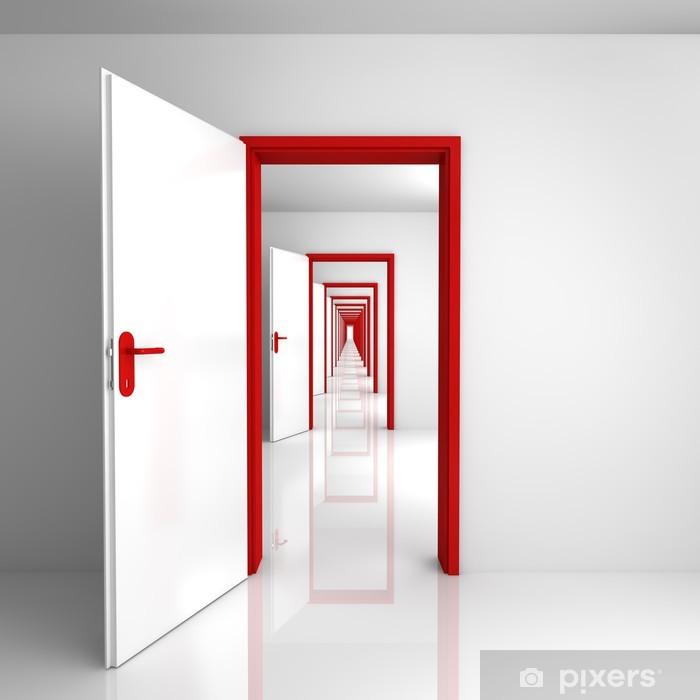 Papier peint vinyle Rouge Portes - Tristesse