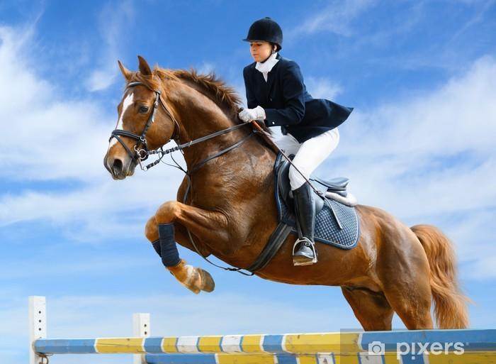 Mural de Parede em Vinil Equestrian jumper - Young girl jumping with sorrel horse - Desportos Individuais