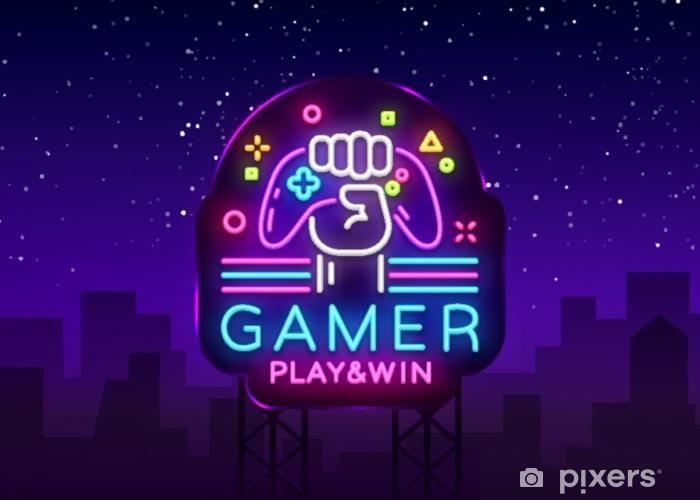 Vinyl Fotobehang Gamer spelen win-logo neon teken vector logo ontwerpsjabloon. game night-logo in neon-stijl, gamepad in de hand, modern trendontwerp, lichte banner, heldere nachtlevenreclame. vector billboard - Technologie